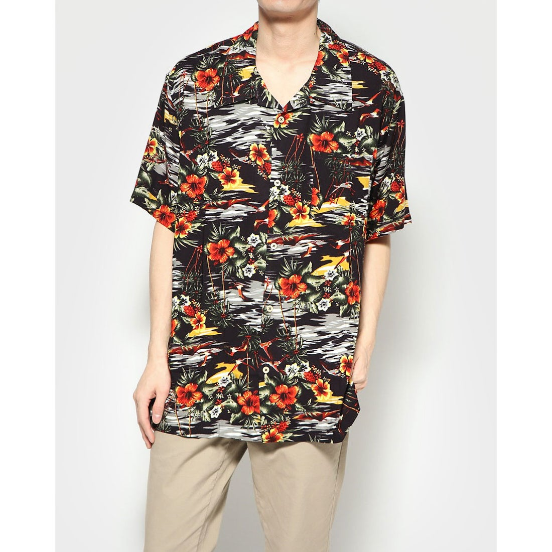 ロコンド 靴とファッションの通販サイトスタイルブロック STYLEBLOCK KINGレーヨンアロハシャツ (Iブラック)