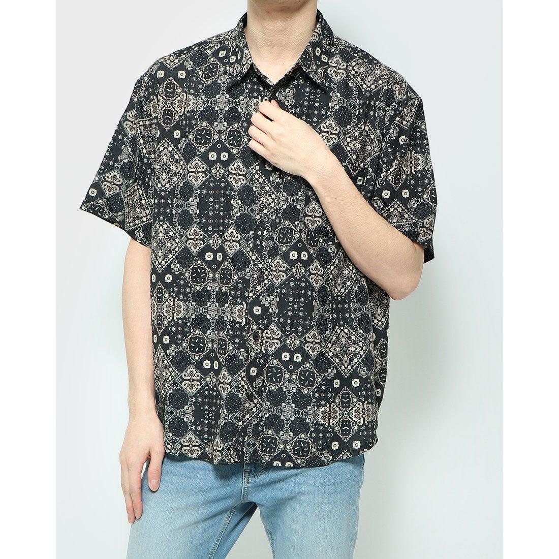 ロコンド 靴とファッションの通販サイトスタイルブロック STYLEBLOCK 総柄ビッグシャツ (ブラック)
