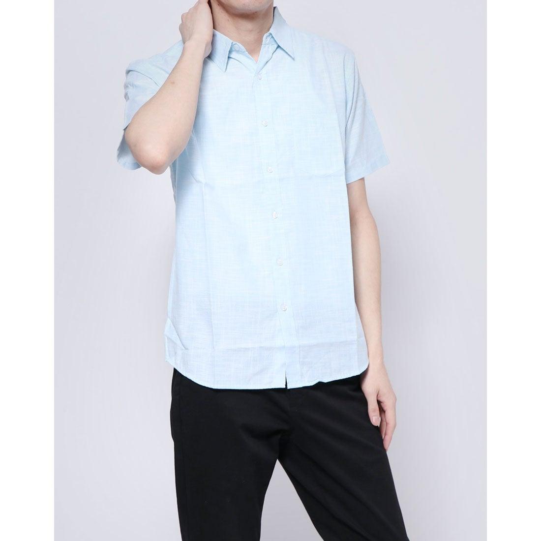 ロコンド 靴とファッションの通販サイトスタイルブロック STYLEBLOCK スラブダンガリー半袖シャツ (サックス)