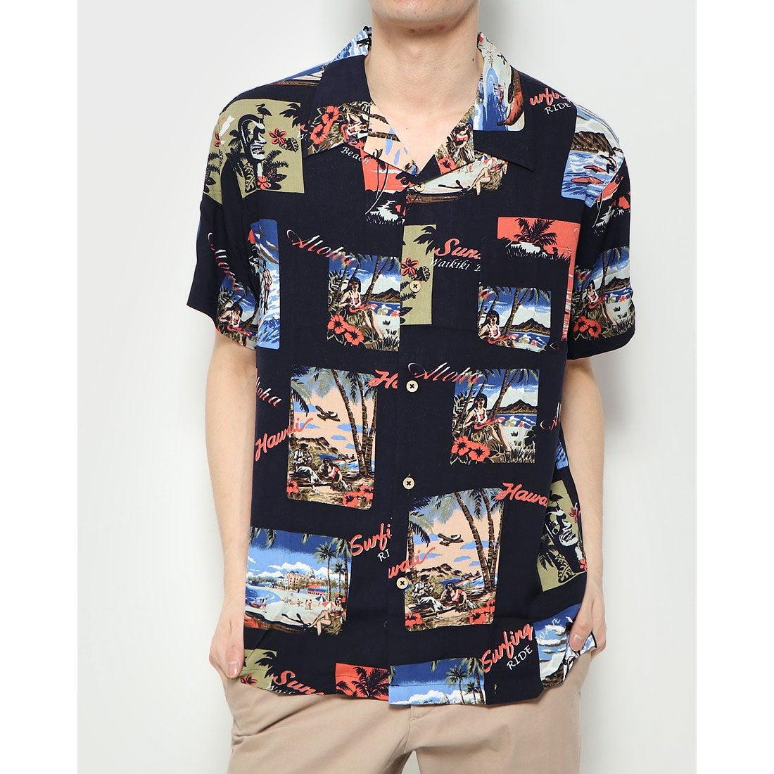 ロコンド 靴とファッションの通販サイトスタイルブロック STYLEBLOCK 総柄開襟レーヨンアロハシャツ (Bネイビー)