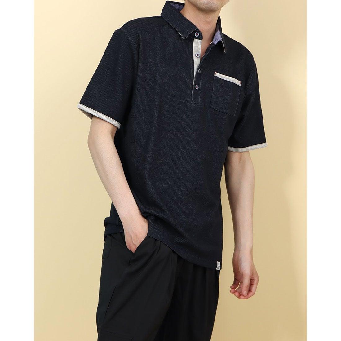 ロコンド 靴とファッションの通販サイトスタイルブロック STYLEBLOCK ポンチ裏ストライプ配色ポロシャツ (ネイビー)