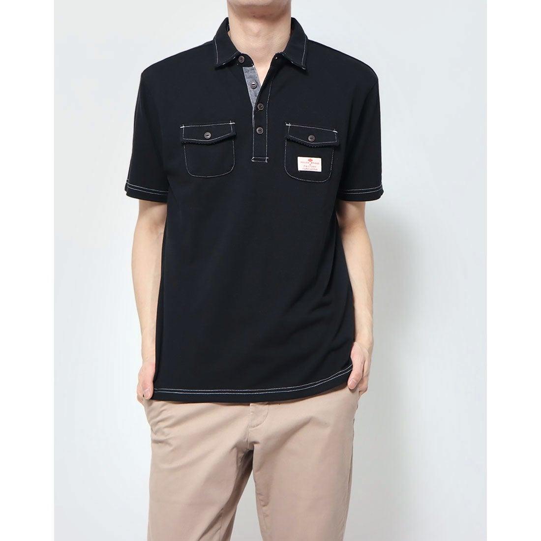 ロコンド 靴とファッションの通販サイトスタイルブロック STYLEBLOCK カノコ配色ステッチワークポロシャツ (ブラック)