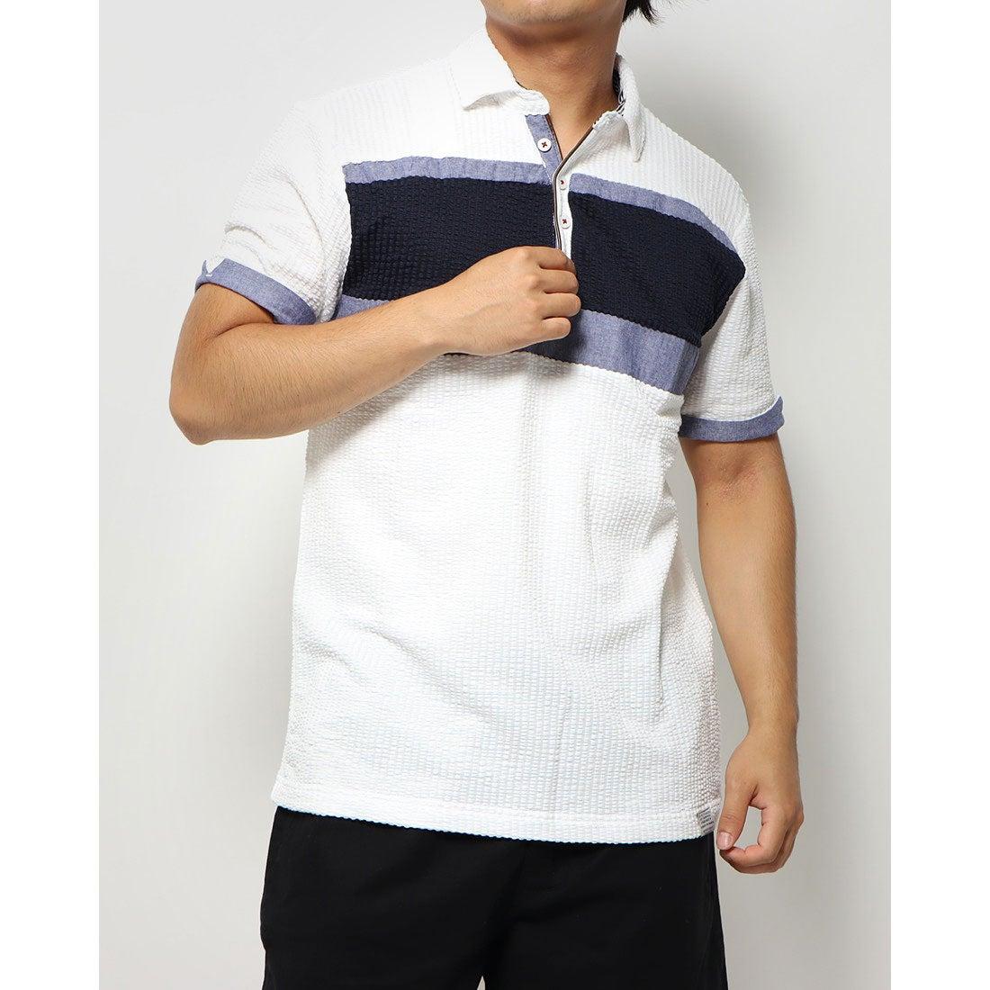 ロコンド 靴とファッションの通販サイトスタイルブロック STYLEBLOCK カットサッカー胸切替スキッパーポロシャツ (オフ)