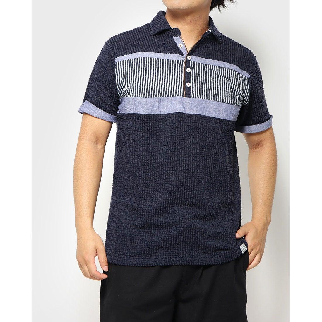 ロコンド 靴とファッションの通販サイトスタイルブロック STYLEBLOCK カットサッカー胸切替スキッパーポロシャツ (ネイビー)