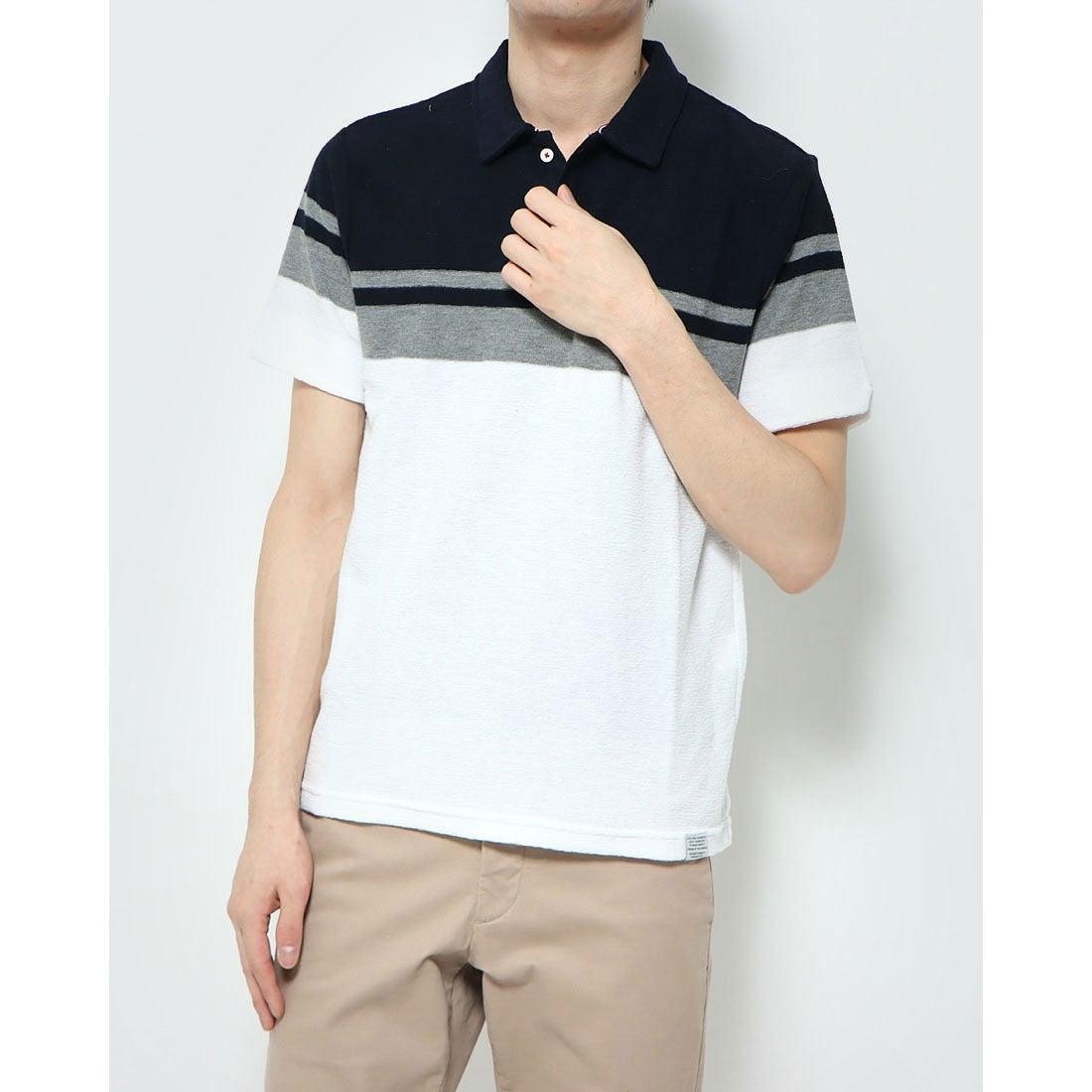 ロコンド 靴とファッションの通販サイトスタイルブロック STYLEBLOCK スラブタック天竺パネルラインポロシャツ (ネイビー)