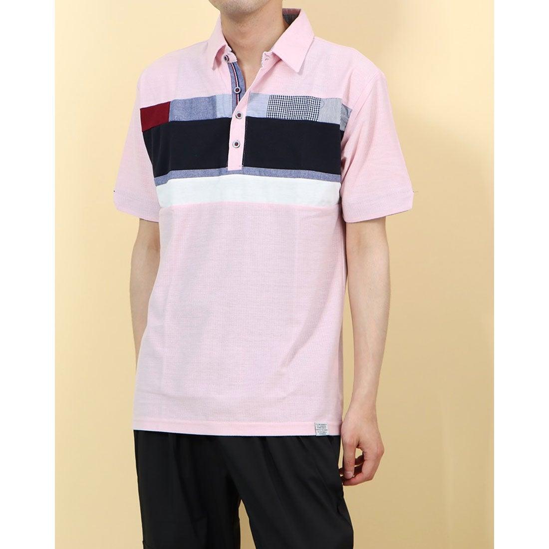 ロコンド 靴とファッションの通販サイトスタイルブロック STYLEBLOCK 梨地異素材切替ポロシャツ (Aピンク)