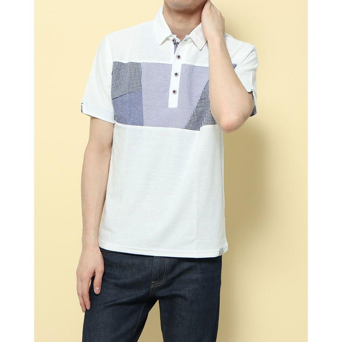 ロコンド 靴とファッションの通販サイトスタイルブロック STYLEBLOCK 梨地異素材切替ポロシャツ (Bオフ)