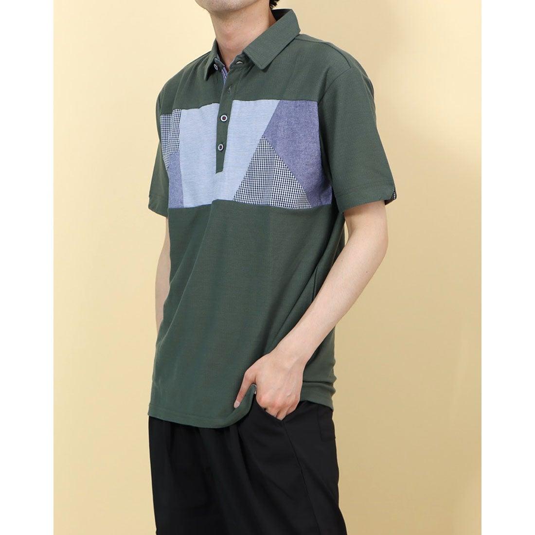 ロコンド 靴とファッションの通販サイトスタイルブロック STYLEBLOCK 梨地異素材切替ポロシャツ (Bカーキ)