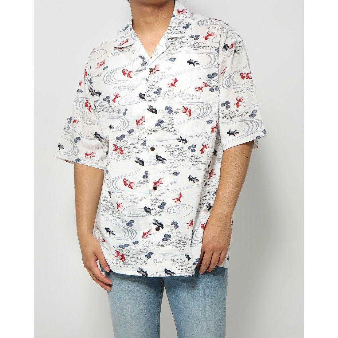 ロコンド 靴とファッションの通販サイトスタイルブロック STYLEBLOCK 総柄プリントオープンシャツ (和柄1(金魚))