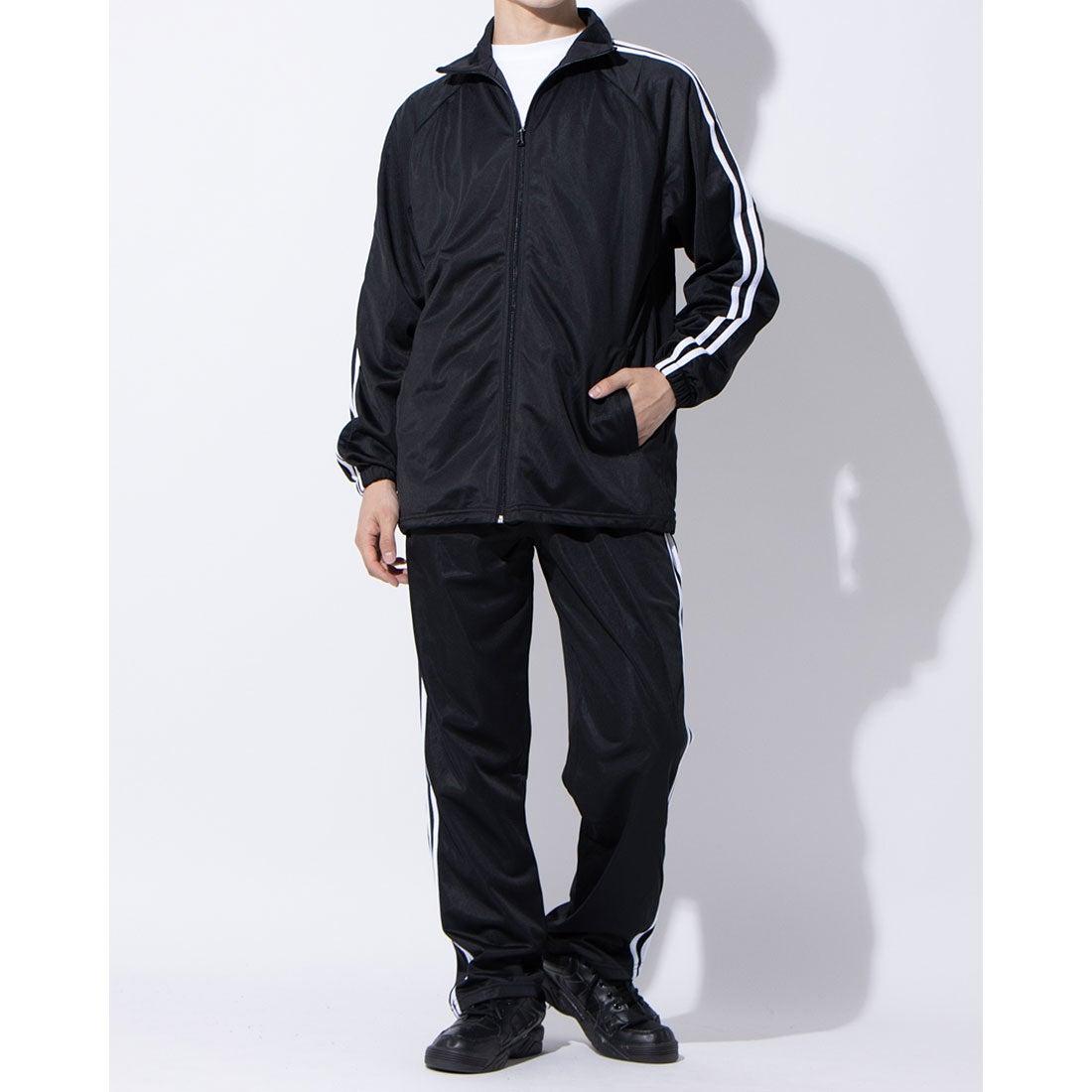 ロコンド 靴とファッションの通販サイトスタイルブロック STYLEBLOCK トリコット2ラインジャージ上下セット (ブラック×ホワイト)