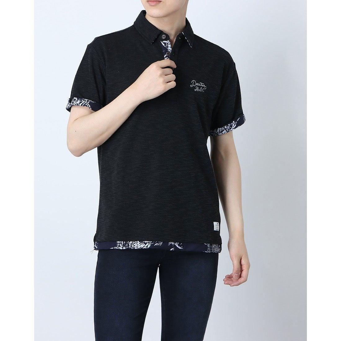 ロコンド 靴とファッションの通販サイトスタイルブロック STYLEBLOCK スラブカノコフェイクレイヤードポロシャツ (ブラック)