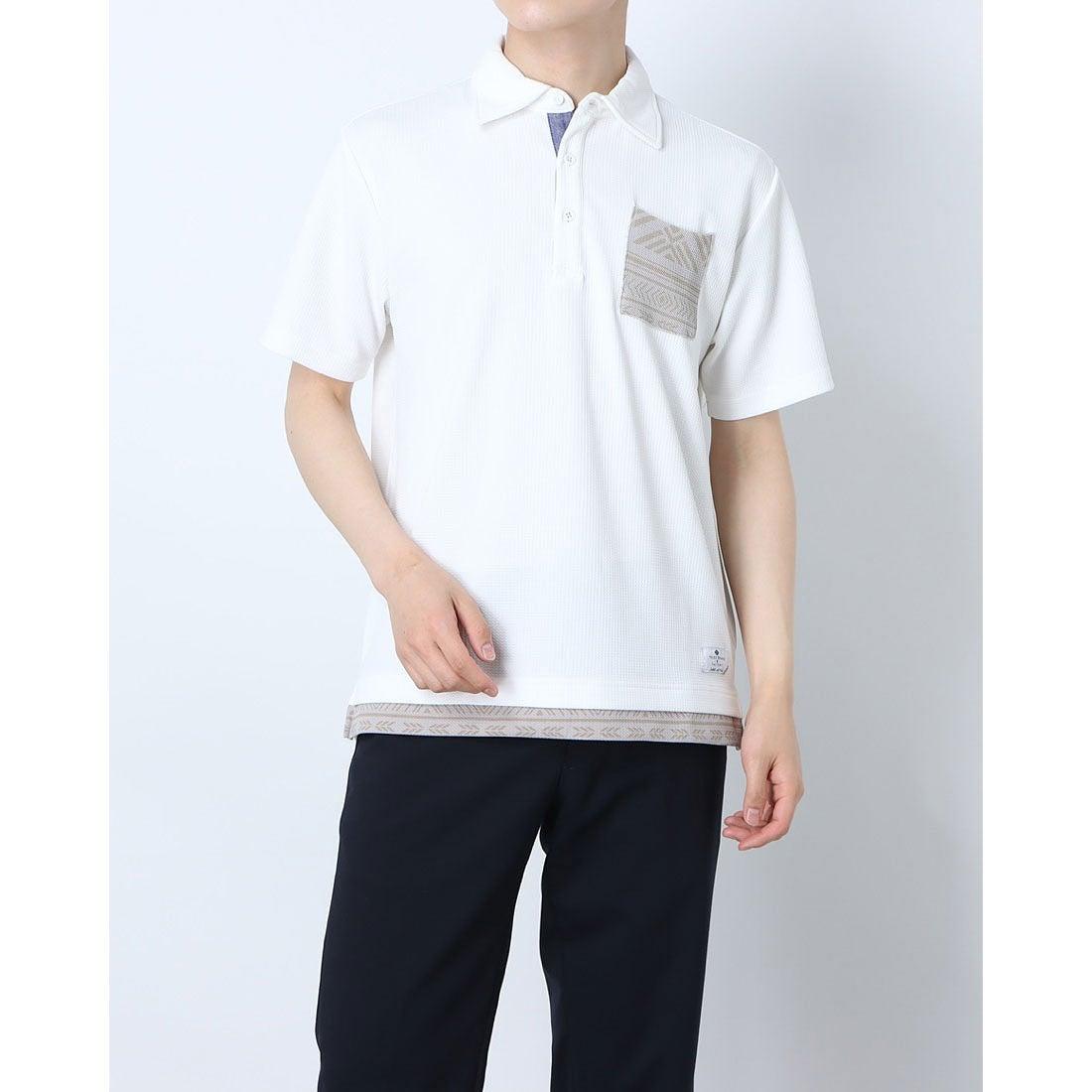 ロコンド 靴とファッションの通販サイトスタイルブロック STYLEBLOCK フクレジャガードフェイクレイヤードポロシャツ (オフホワイト)
