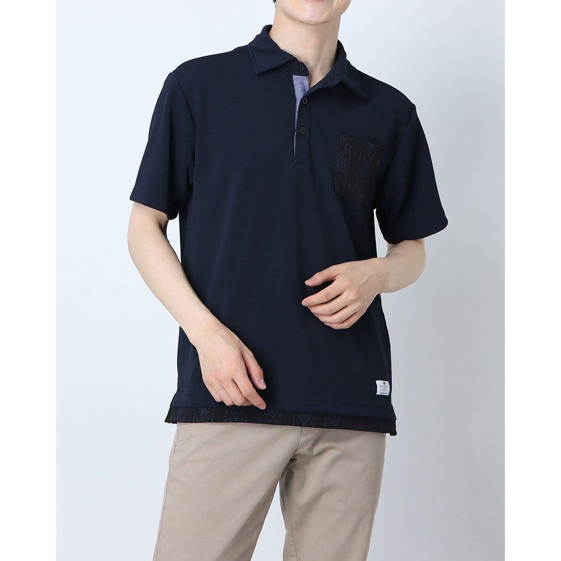 ロコンド 靴とファッションの通販サイトスタイルブロック STYLEBLOCK フクレジャガードフェイクレイヤードポロシャツ (ネイビー)