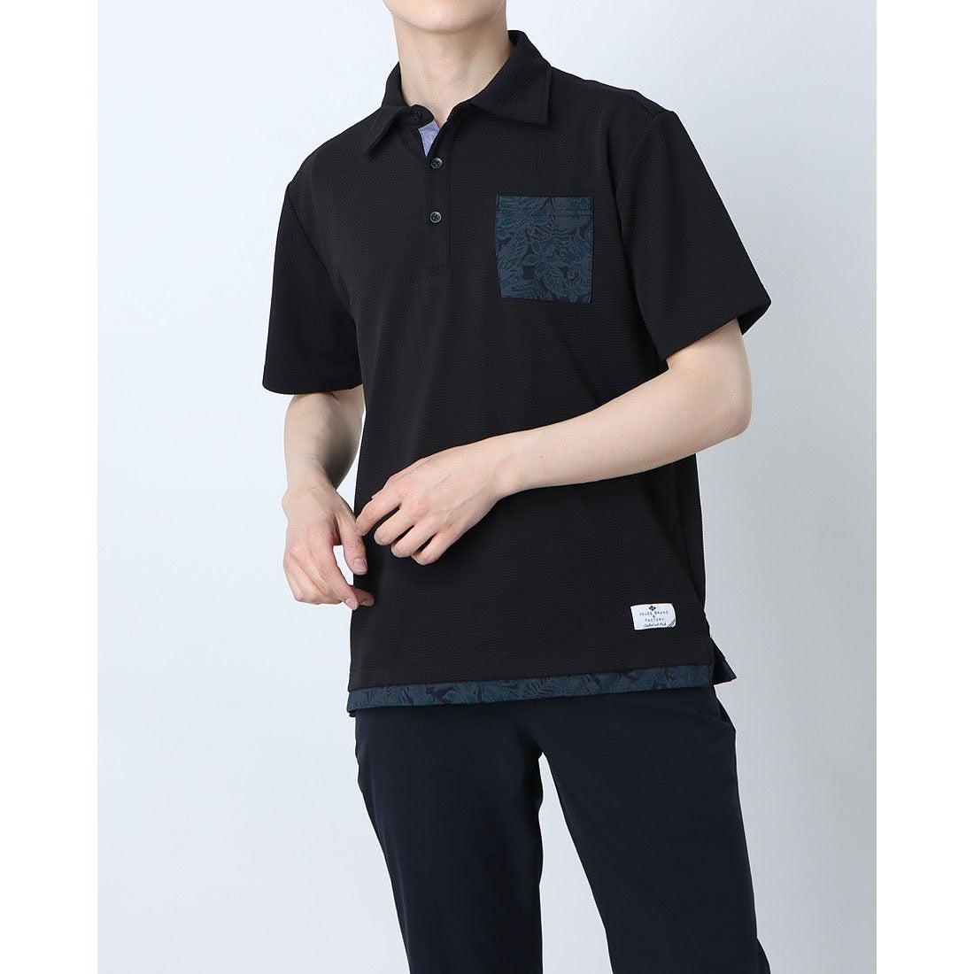 ロコンド 靴とファッションの通販サイトスタイルブロック STYLEBLOCK フクレジャガードフェイクレイヤードポロシャツ (ブラック)