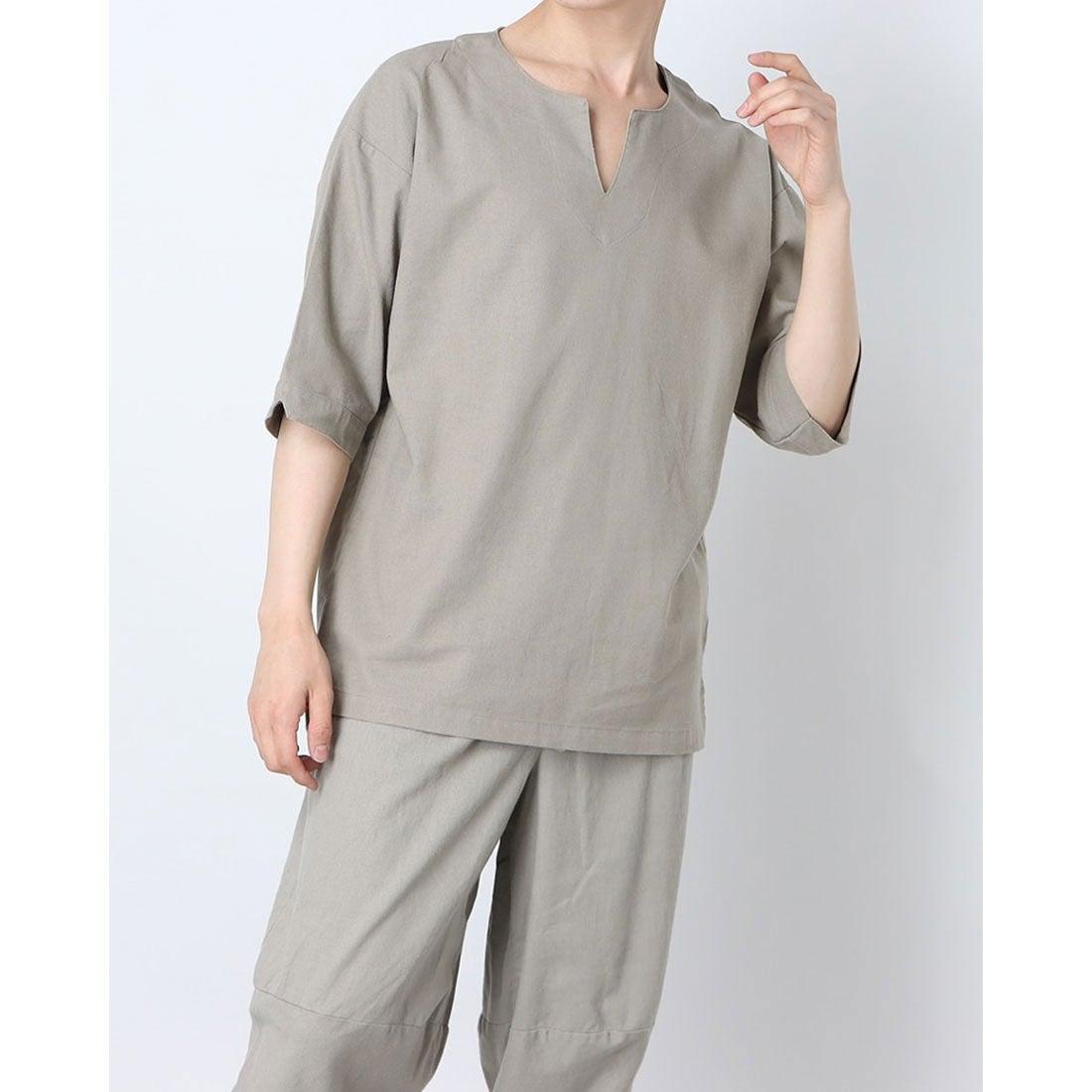 ロコンド 靴とファッションの通販サイトスタイルブロック STYLEBLOCK 麻混キーネックプルオーバーシャツ (サンドベージュ)