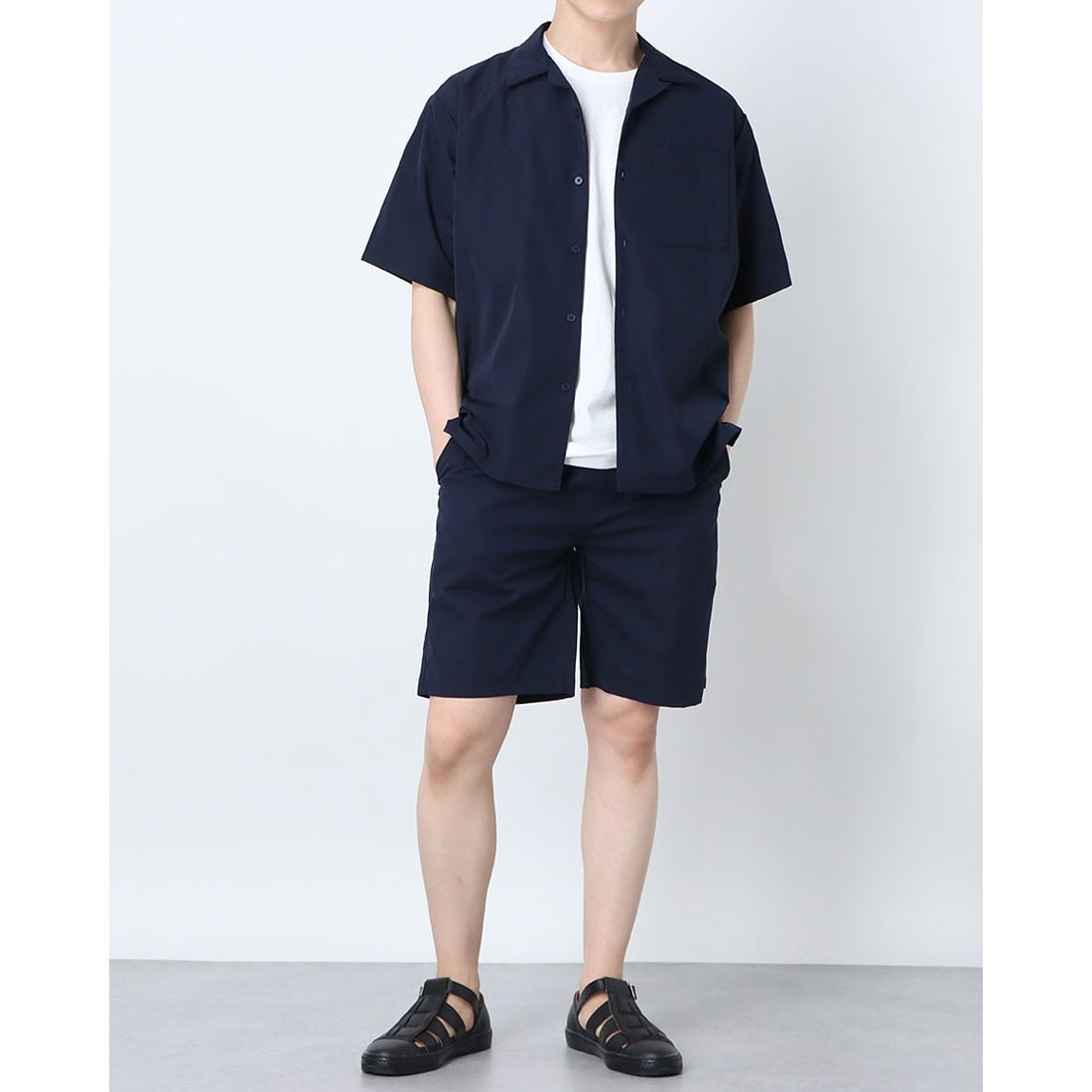 ロコンド 靴とファッションの通販サイトスタイルブロック STYLEBLOCK 3点セット半袖セットアップ (ネイビー)