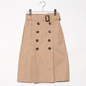 スタイルブロック STYLEBLOCK 綿ツイルベルト付きタックトレンチスカート (ベージュ)