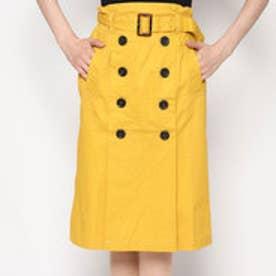スタイルブロック STYLEBLOCK 綿ツイルベルト付きタックトレンチスカート (イエロー)