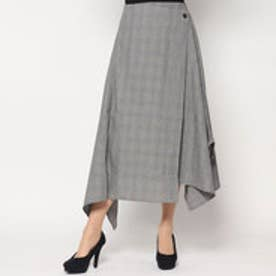 スタイルブロック STYLEBLOCK グレンチェックアシンメトリースカート (ホワイト)