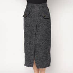 スタイルブロック STYLEBLOCK フェイクツィードフロントスリットタイトスカート (ダークグレー)