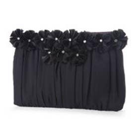スタイルブロック STYLEBLOCK 結婚式二次会お花モチーフ×シフォン素材のパーティークラッチバッグ (ブラック)