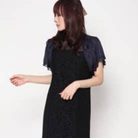 スタイルブロック STYLEBLOCK ラメストライプショート丈半袖シフォンボレロ (ネイビー)