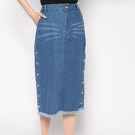 スタイルブロック STYLEBLOCK デニムサイドスリットタイトスカート (ブルー)
