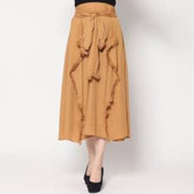 スタイルブロック STYLEBLOCK シフォンジョーゼットフリンジ付きスカート (キャメル)