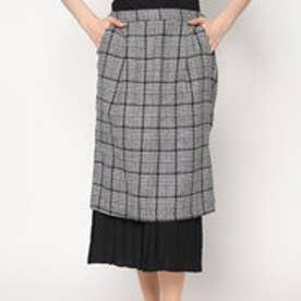 スタイルブロック STYLEBLOCK グレンチェック×レイヤードプリーツタイトスカート (ホワイト)
