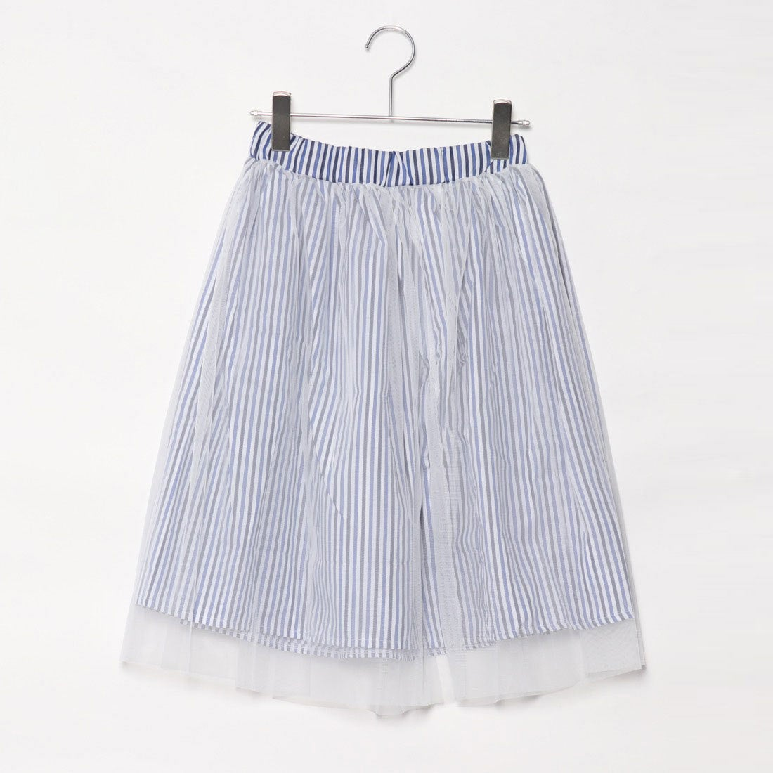 スタイルブロック STYLEBLOCK ストライプチュールレイヤード膝丈スカート (ブルー)