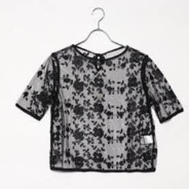 スタイルブロック STYLEBLOCK チュール花柄単色刺繍ブラウス (ブラック)