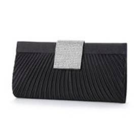 スタイルブロック STYLEBLOCK プリーツ&大シルバーバックルサテンパーティークラッチバッグ (ブラック)