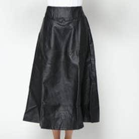 スタイルブロック STYLEBLOCK PUレザースリットフレアロングスカート (ブラック)