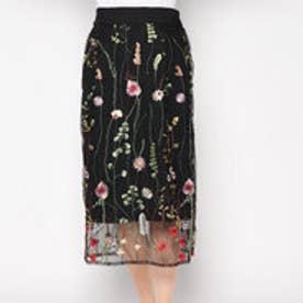 スタイルブロック STYLEBLOCK チュール花柄刺繍ミモレ丈タイトスカート (ブラック)