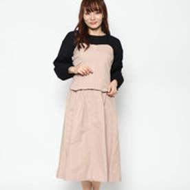 スタイルブロック STYLEBLOCK 綿ツイルビスチェ×スカートセットアップアンサンブル (ピンク)