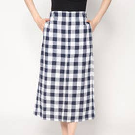 スタイルブロック STYLEBLOCK 先染めブロックチェックタイトスカート (ネイビー)