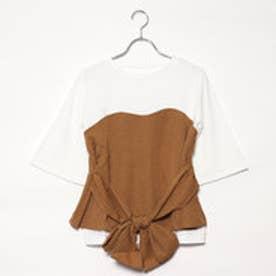 スタイルブロック STYLEBLOCK ウエストリボンビスチェドッキングTシャツ (ベージュ)