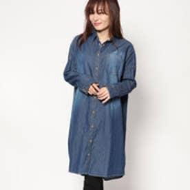 スタイルブロック STYLEBLOCK デニムオーバーサイズシャツワンピース (ブルー)