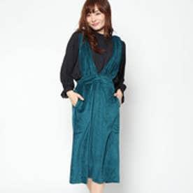 スタイルブロック STYLEBLOCK ベロアサスペンダー付きスカート (グリーン)