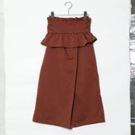 スタイルブロック STYLEBLOCK ツイルコルセットベルト付きスカート (ブラウン)