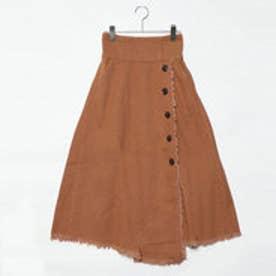 スタイルブロック STYLEBLOCK 綿ツイルハイウエストフリンジフレアスカート (キャメル)