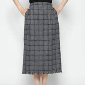 スタイルブロック STYLEBLOCK 起毛先染めオーバーチェックフリンジタイトスカート (グレー)