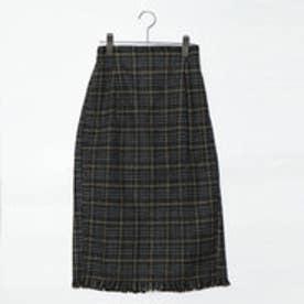 スタイルブロック STYLEBLOCK 起毛先染めオーバーチェックフリンジタイトスカート (カーキ)