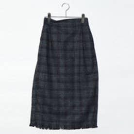 スタイルブロック STYLEBLOCK 起毛先染めオーバーチェックフリンジタイトスカート (ダークグレー)