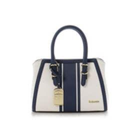 &シュエット ラインデザインキャンバスハンドバッグ(ホワイト)