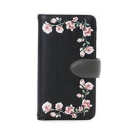 &シュエット フラワープリントiPhone7ケース(ブラック)