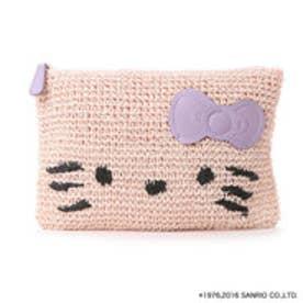 カラーズバイジェニファースカイ キティ編みこみクラッチ(ピンク)
