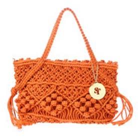 サマンサタバサ 編み上げトートバック(オレンジ)