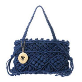 サマンサタバサ 編み上げトートバック(ブルー)