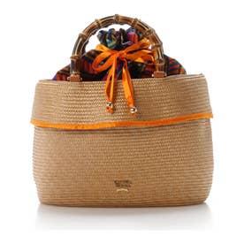 サマンサタバサ 巾着かごバッグ(オレンジ)